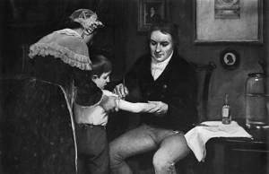 Edward Jenner inoculates a boy with cowpox vaccine