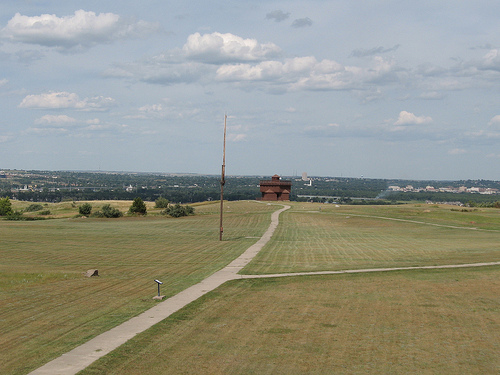 A sense of the size of Fort Abraham Lincoln can be gained from this view looking from one blockhouse to another.