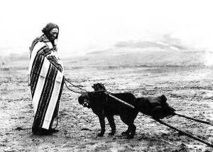 Lakota woman and dog travoid