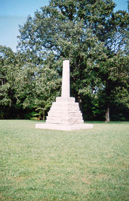 Meriwether Lewis's gravesite along the Natchez Trace in Tennessee. The broken shaft symbolizes a life cut short.