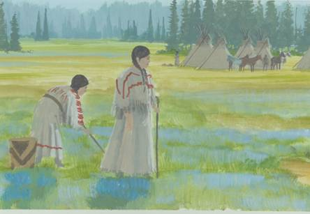Women of the Nez Perce or Nimiipuu. Mural detail courtesy of Weippe Discovery Center.