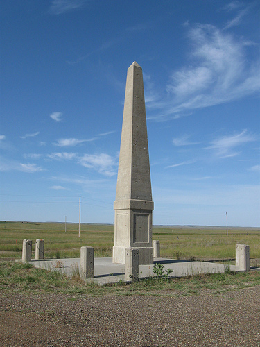 The Sacagawea monument was erected in the 1920s. Though the Indian woman was never here, she was then at the height of her popularity, given credit for guiding clueless Lewis and Clark across this continent.