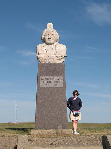 Mary at Sitting Bull's grave near Mobridge, South Dakota. There are plans to create an interpretive center here so people can learn about Sitting Bull and his struggle.