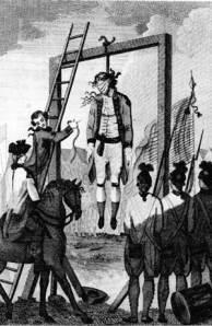 British officer being hanged