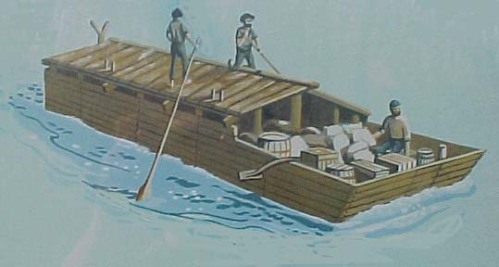 19th century flatboat