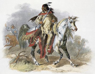 Blackfoot Warrior on Horseback by Bodmer