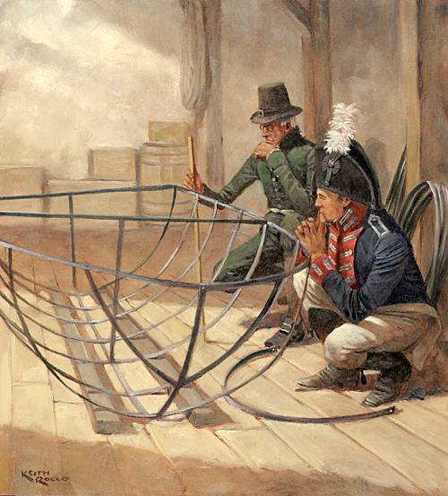 joseph perkins and meriwether lewis inspecting the iron boat frame courtesy harpers ferry national historic park