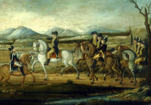 Washington reviewing the troops at Fort Cumberland, 1794