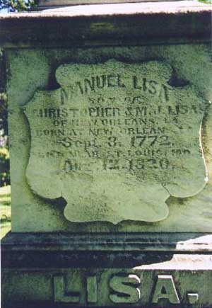 Inscription on Manuel Lisa's grave