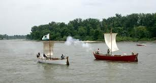 Replicas of the white and red pirogue on the Missouri River in Omaha, Nebraska