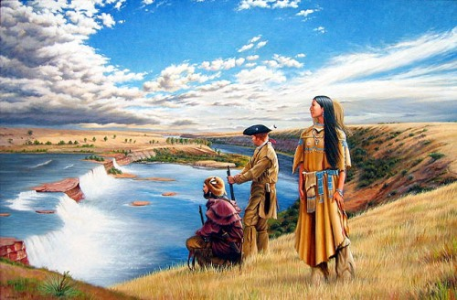 Charbonneau and Sacagawea with William Clark