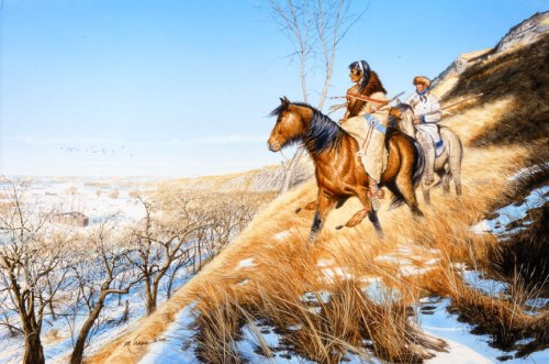 """""""Hunting with Sheheke: 'White Coyote' And An Expedition Member Approach Ft. Mandan Winter 1804-1805,"""" by Michael Haynes"""