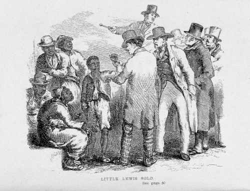 "19th century cartoon, ""Little Lewis Sold"""
