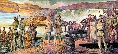 Lewis and Clark at Celilo Falls, Columbia River (Mural from the Oregon State Capitol)