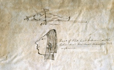 Clark's journal drawing of flattened heads of Pacific Coast Indians