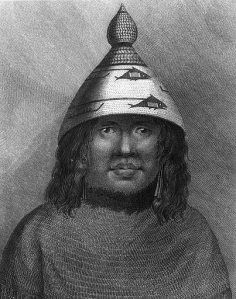 Nootka woman wearing typical Pacific Coast headgear