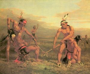 Indians Playing a Ball Game, by George Catlin
