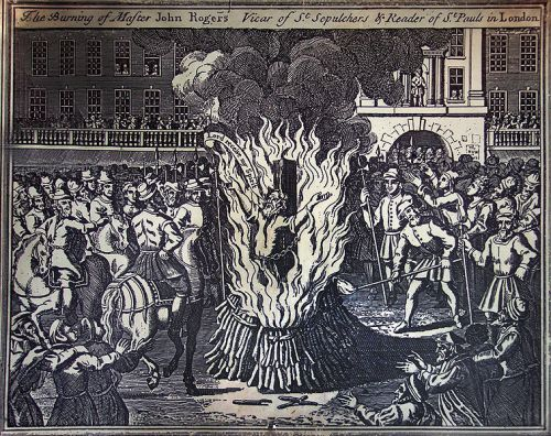 John Rogers burns at the stake, 1555