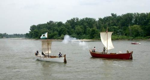 Replicas of Lewis and Clark's white and red pirogues