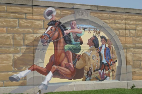 Lewis meets Lorimier - Mississippi River mural, Cape Girardeau