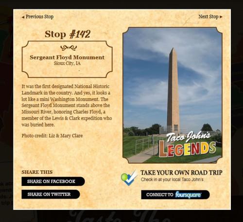 Taco John's Road Trip Stop #142 - Sergeant Floyd Monument, Sioux City, IA